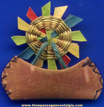 Old Native American Indian Miniature Canoe & Sun Souvenir Pin