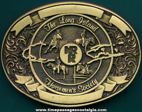 Old Long Island Horsemen's Society Brass Advertising Belt Buckle