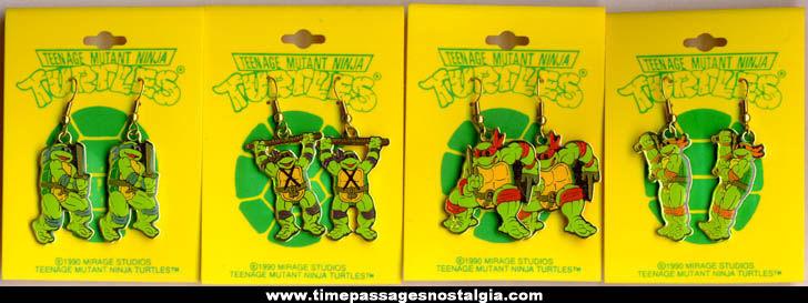 Complete Set Of (4) Unused Pairs Of Carded Teenage Mutant Ninja Turtles Figure Earrings