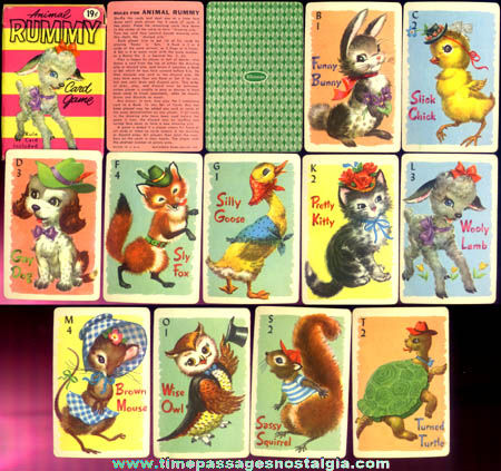 Old Boxed Whitman Cartoon Animal Rummy Card Game