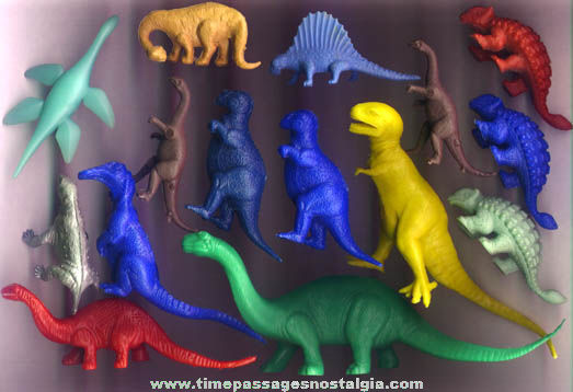 (15) Colorful Old Plastic Dinosaur Toy Playset Figures