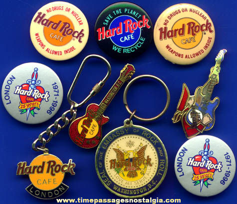 (9) Hard Rock Cafe Advertising Pins & Key Chains