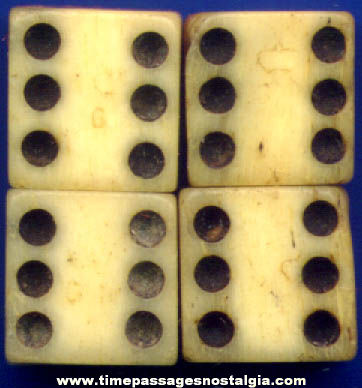 (4) 18th Century Ivory or Bone Dice With Tax Marks