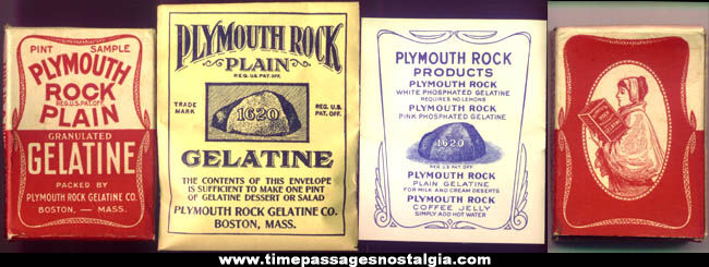 Old Unused Plymouth Rock Gelatine Sample Box With Contents
