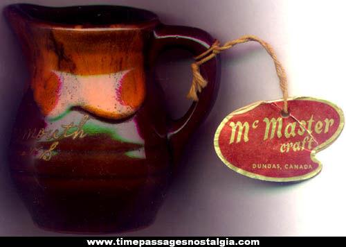 Old Yarmouth, Nova Scotia Souvenir Pottery Creamer Pitcher With Tag