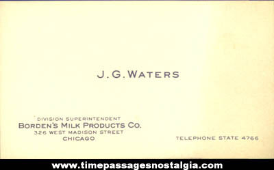 Old Borden Milk Products Company Employee Advertising Business Card
