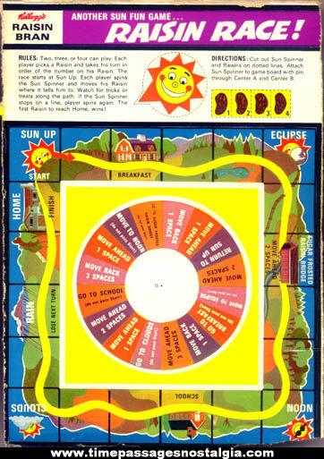 (5) Old Unused Kelloggs Raisin Bran Cereal Box Raisin Race Games