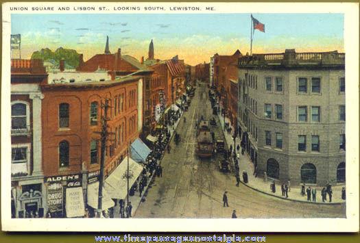 1930 Union Square Lewiston Maine Post Card