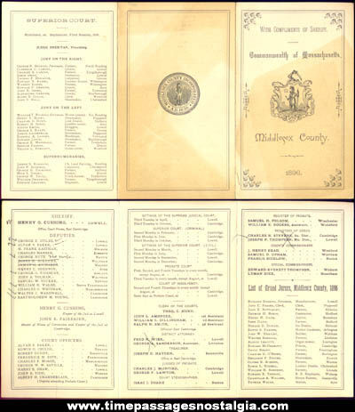 1896 Middlesex County Massachusetts Police & Court Brochure