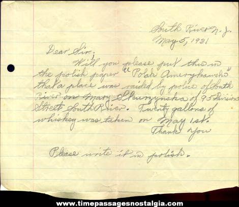 1931 Hand Written Police Raid Prohibition Letter