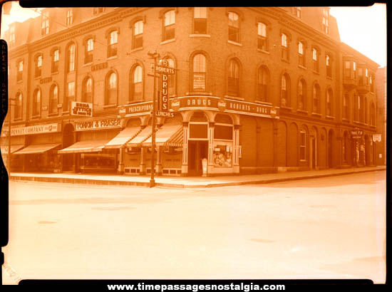 Large 1945 Concord New Hampshire City Scene With Signs Photograph Negative