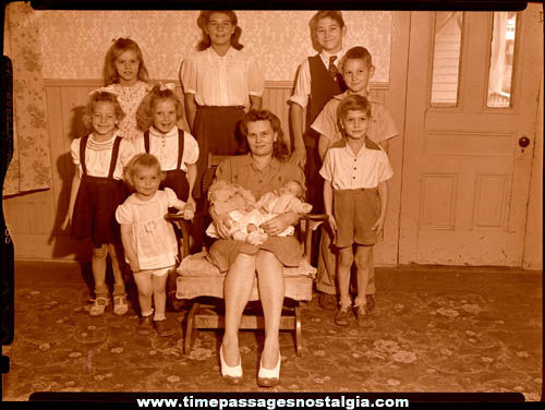 (6) Large 1944 World War II American Homefront Family Photograph Negatives