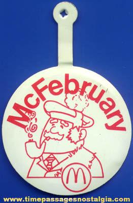 Old McDonalds Restaurant McFebruary Advertising Tin Tab Button