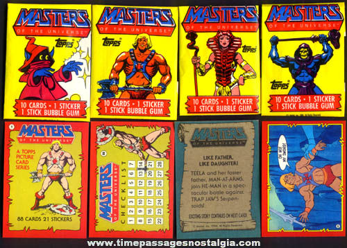 (88) ©1984 He - Man Masters Of The Universe Television Character Bubble Gum Cards & (4) Wrappers