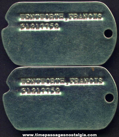 (2) Matching Old Military Dog Tags
