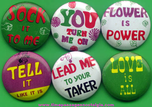 (6) Colorful 1960s - 1970s Gum Ball Machine Prize Pin Back Buttons With Sayings
