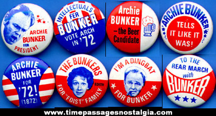 (8) Different 1972 Archie Bunker Gum Ball Machine Prize Political Pin Back Buttons