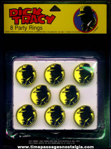 (8) Unopened 1990 Dick Tracy Character Party Favor Premium Toy Rings