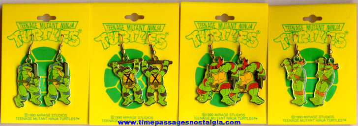 Complete Set Of (4) Unused Pairs Of Carded Teenage Mutant Ninja Turtles Figure Earrings