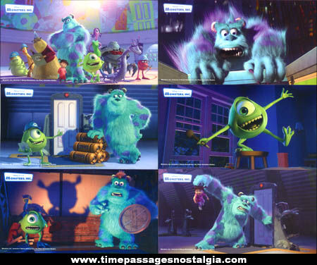 (6) Colorful Monsters Inc. Movie Character Advertising Premium Cards