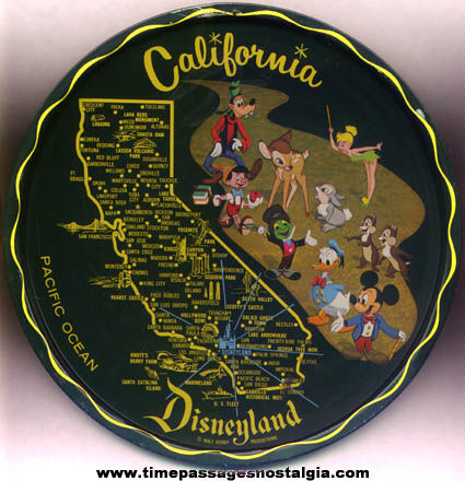 Colorful Old Metal Disneyland Character California Advertising Souvenir Tray