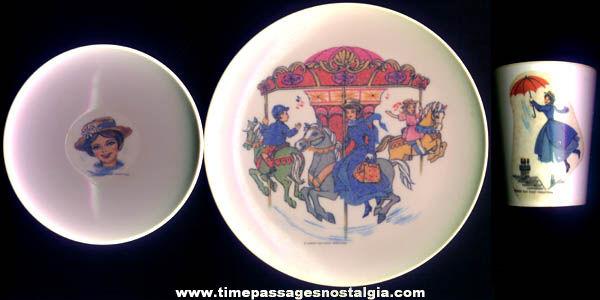(3) ©1964 Walt Disney Mary Poppins Character Childrens Dinnerware Items