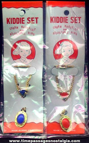 (2) Old Unopened Kiddie Charm Bracelet & Toy Ring Sets