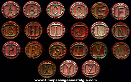 (21) 1940's - 1950's Gumball Machine Prize Initial Toy Rings
