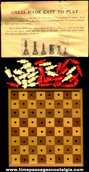 Complete Old Miniature Inlaid Wood Chess Game