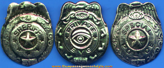 (15) Old Embossed Tin Toy Police, Sheriff, & Private Eye Badges