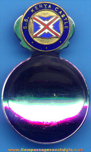 Old Enameled S. S. Kenya Castle Cruise Ship Advertising Souvenir Scoop Spoon
