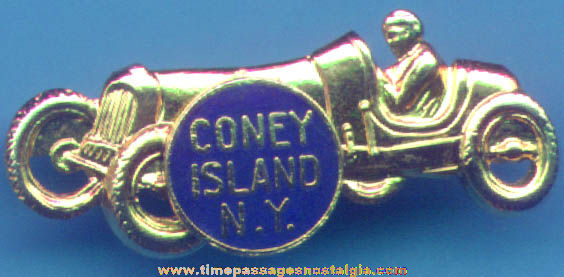 Old Enameled Coney Island New York Advertising Souvenir Race Car Pin