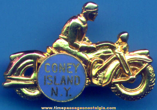 Old Enameled Coney Island New York Advertising Souvenir Motorcycle Pin