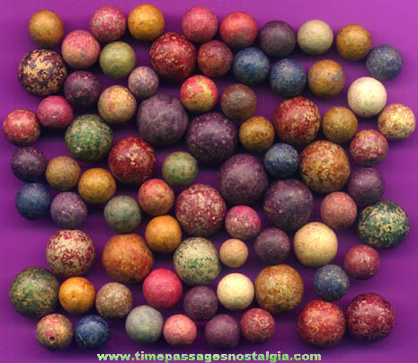 (75) Old Colored Clay or Pottery Toy Marbles