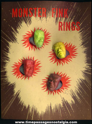 (4) 1960s Monster Character Gum Ball Machine Prize Toy Rings On Advertising Header Card