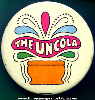 Colorful Old 7-Up Uncola Tin Advertising Pin Back Button