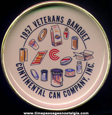 Colorful 1957 Continental Can Company Veterans Banquet Advertising Porcelain Ashtray or Bowl