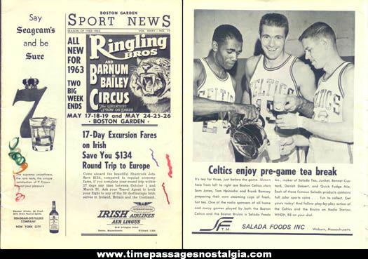 1962 - 1963 Boston Garden Sport News Program & Advertising Book