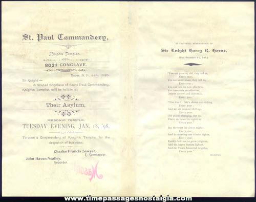 1897 - 1898 Masonic Saint Paul Commandery Knights Templar Program