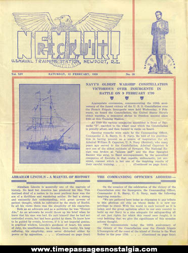 (10) 1938 United States Naval Training Station Newport Recruit Newsletters