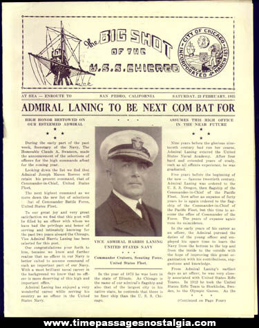 (5) 1935 United States Navy U.S.S. Chicago (CA-29) Ship Newsletters