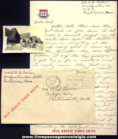 1942 United States Army Soldier Letter, Envelope & Photograph
