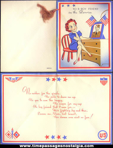 Unused 1940s Homefront U.S. Army Soldier Sweetheart Greeting Card