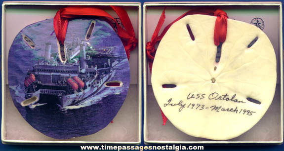 United States Navy U.S.S. Ortolan Ship ASR-22 Souvenir Sand Dollar