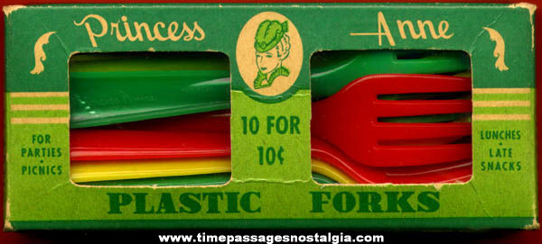 Old Box of (10) Hard Plastic Princess Anne Forks