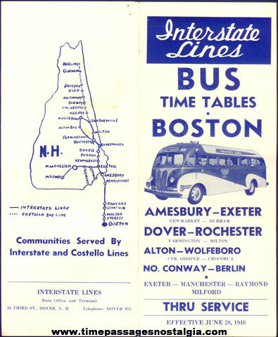 1940 Interstate Lines Advertising Bus Schedule