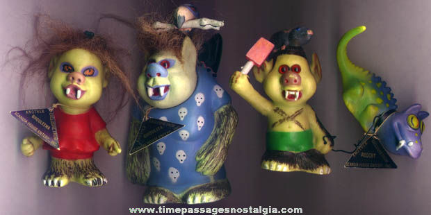 (4) Strange ©1965 Scandia House Ghoulies Troll Family Figures