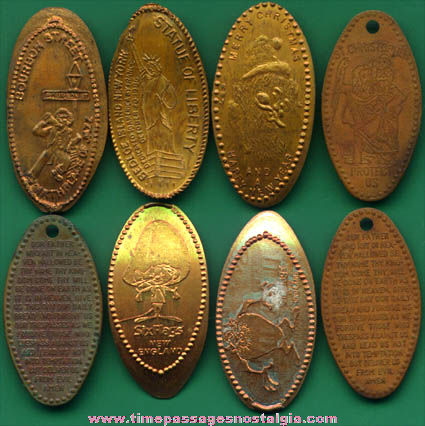 (8) Old Advertising Souvenir Elongated Cents