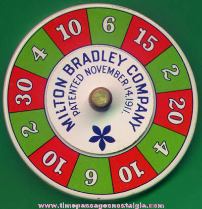Old Lithographed Tin Milton Bradley Company Advertising Game Spinner