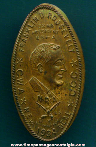 Old Franklin Delano Roosevelt United States President Elongated Cent